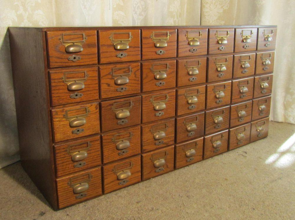 Oak 35 Drawer Card Index Filing Cabinet Wine Rack Wood
