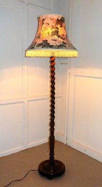 Antiques Atlas - Oak Barley Twist Floor Standing Standard Lamp