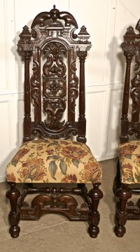 Pair Carved Oak Hall Chairs, Wedding Thrones - Antiques Atlas