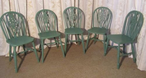Set 5 Victorian Painted Wheel Back Kitchen Chairs Antiques Atlas