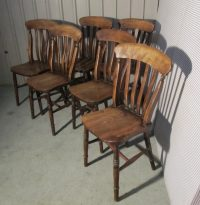 Set 6 Victorian Slat Back Farmhouse Kitchen Chairs ...