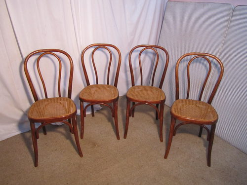 Set Of 4 French Bistro Or Cafe Bentwood Chairs  Antiques