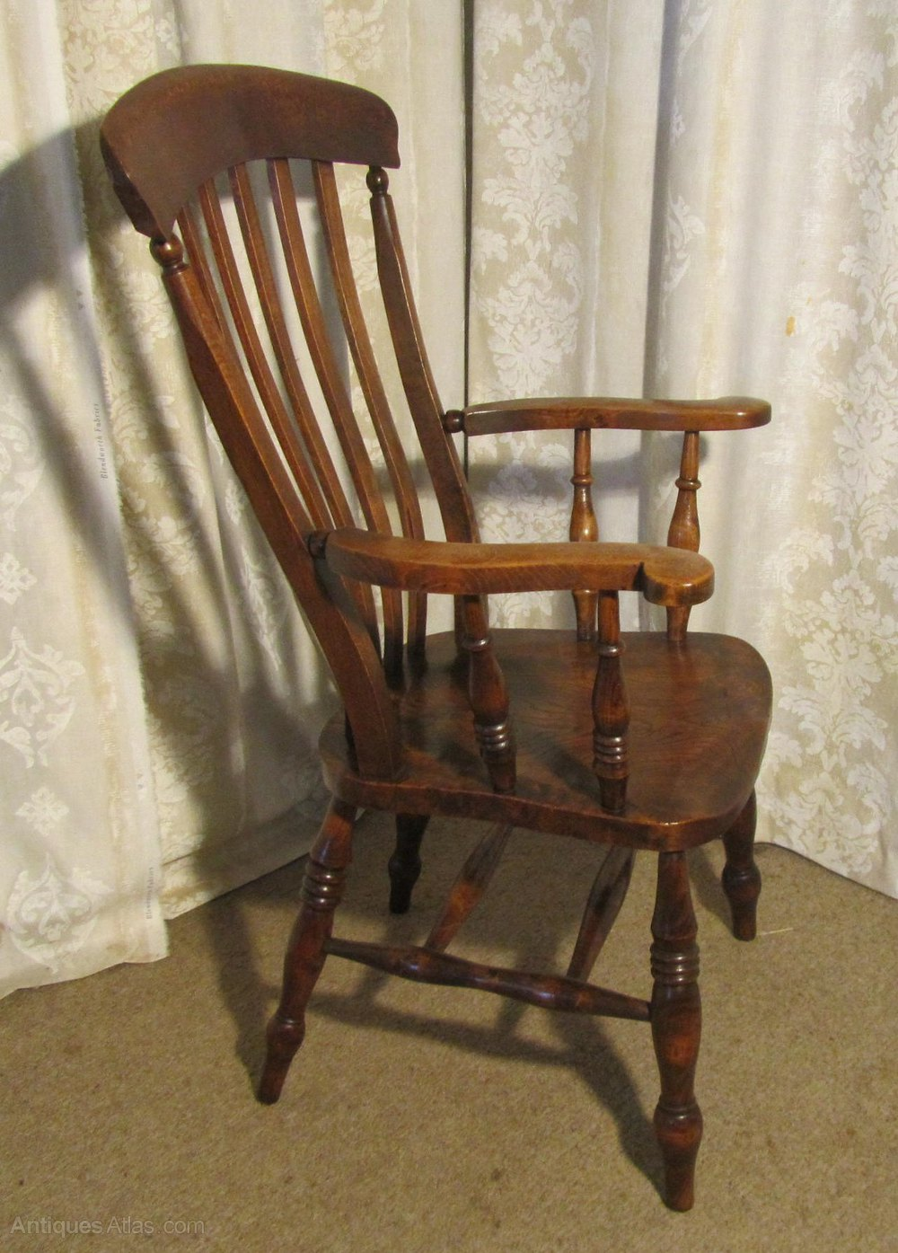 antique high chair folding covers for rent victorian beech and elm slat back carver - antiques atlas
