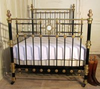 Victorian Brass And Iron Double Bed Mother Of Pearl Inlay ...