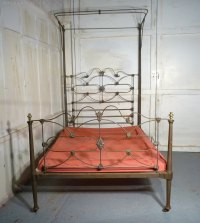 Victorian Brass And Iron Half Tester Double Bed - Antiques ...