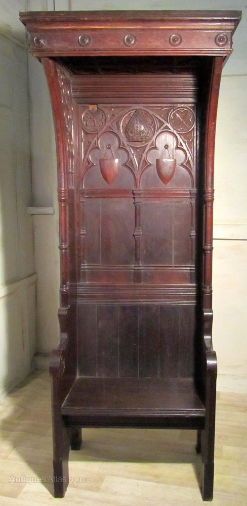 Victorian Carved Gothic Oak Bishops Chair Throne