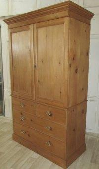 Victorian Pine Linen Press Housekeepers Cupboard