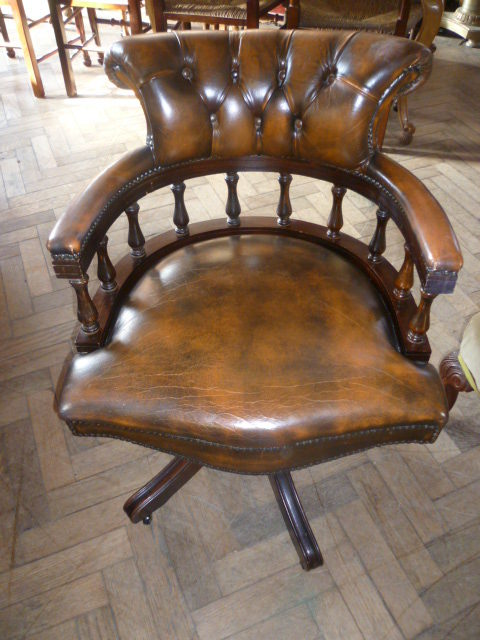 revolving chair and computer lounge antiques atlas - deep buttoned leather swivel