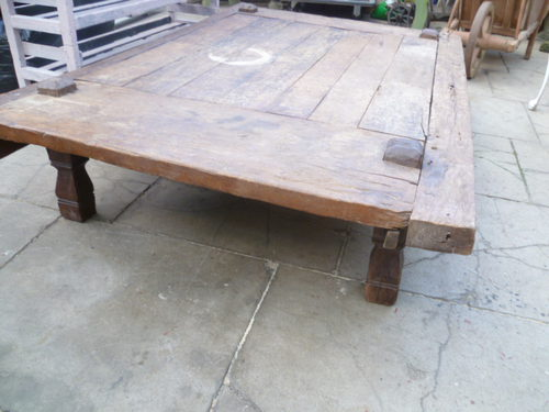 large antique rustic low coffee table