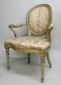 A French Style Painted Open Arm Chair - Antiques Atlas