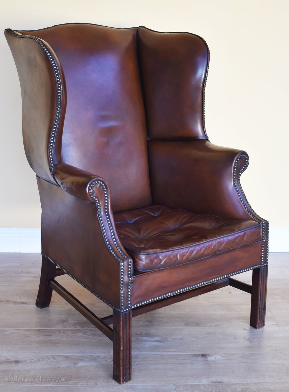 Brown Leather Wingback Chair Georgian Style Leather Wing Back Arm Chair
