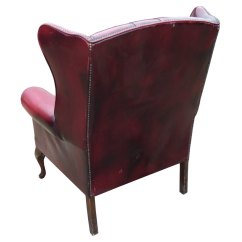 Red Leather Wingback Chair White Gliding Rocking Antiques Atlas - Large Ox Blood Wing Back Arm