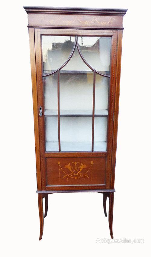 Small Edwardian Mahogany Inlaid Display Cabinet  Antiques