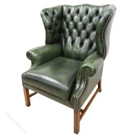 George III Style Green Leather Wing Chair - Antiques Atlas