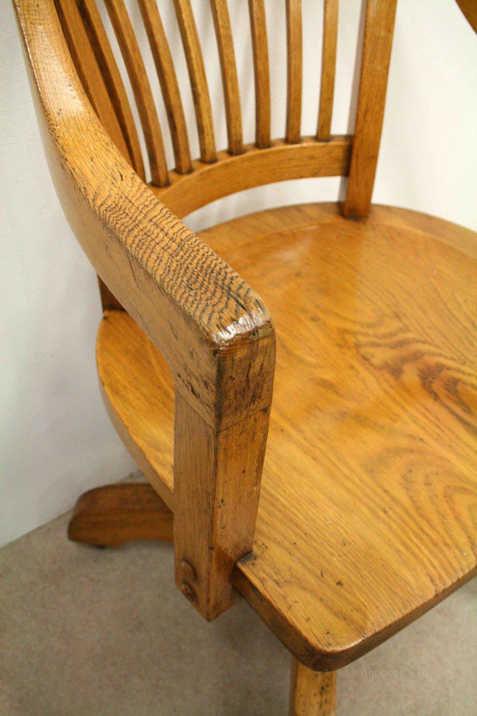 swivel chair sale uk desk gas lift solid oak revolving - antiques atlas
