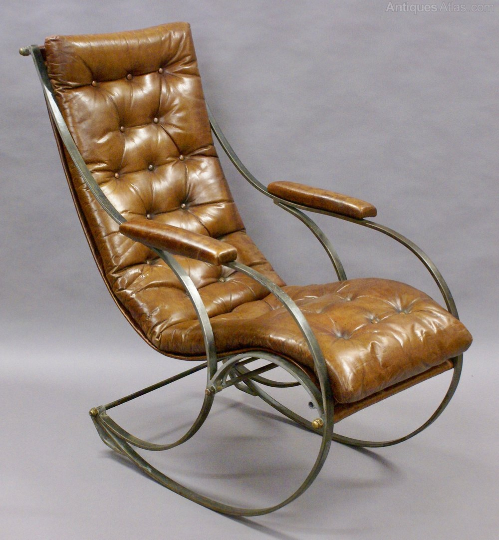 Leather Rocking Chair A Steel And Leather Rocking Chair By R W Winfield