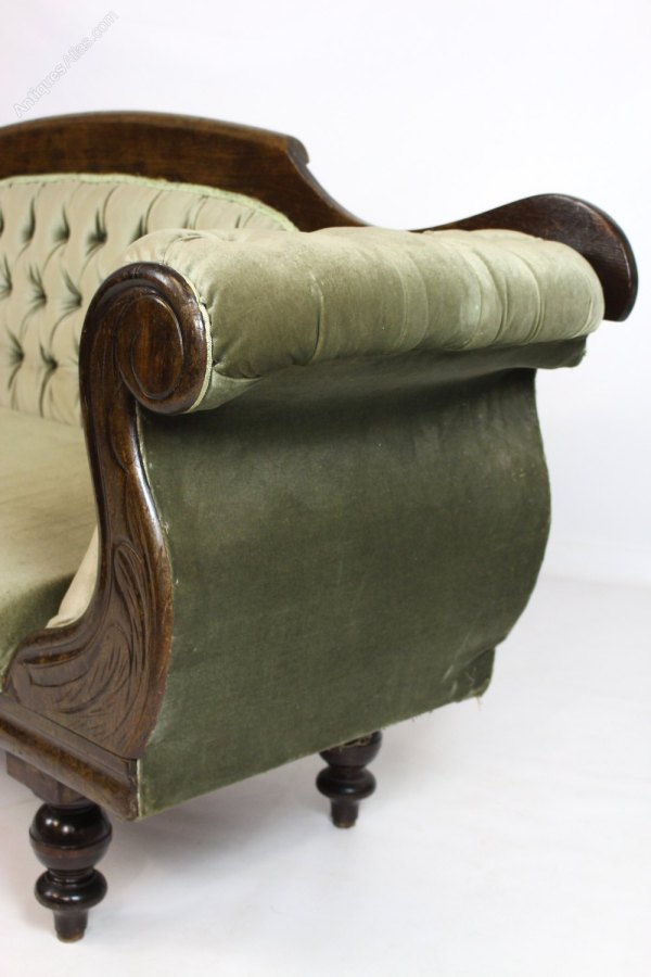 Antique Victorian Scroll Arm Sofa Settee Couch - Antiques