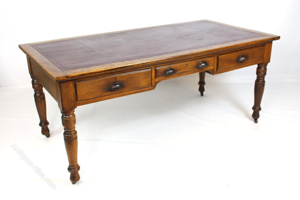 Large Victorian Oak Library Table Writing Desk  Antiques