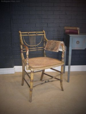Regency Faux Bamboo Chair With Original Paint - Antiques Atlas