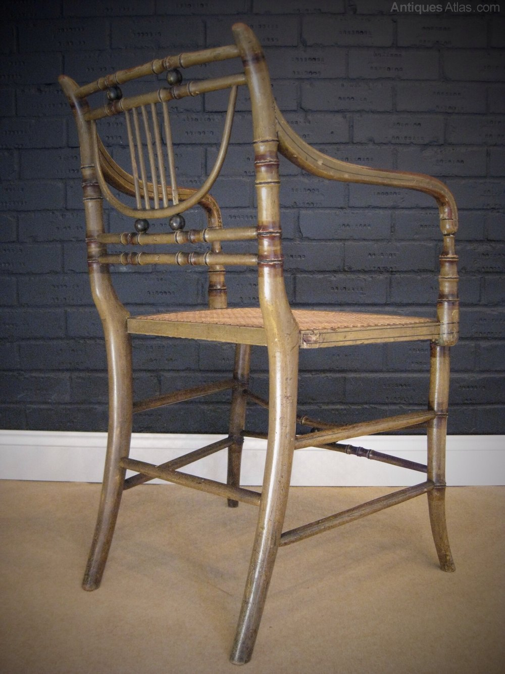 green dining chairs uk tall directors chair regency faux bamboo with original paint - antiques atlas