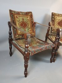 Pair Of Mahogany Campaign Chairs - Antiques Atlas