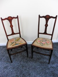 Pair Of Rosewood Inlaid Embroidered Bedroom Chairs ...