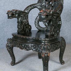 Antique Chinese Dragon Chair Wicker High Back Armchair - Antiques Atlas