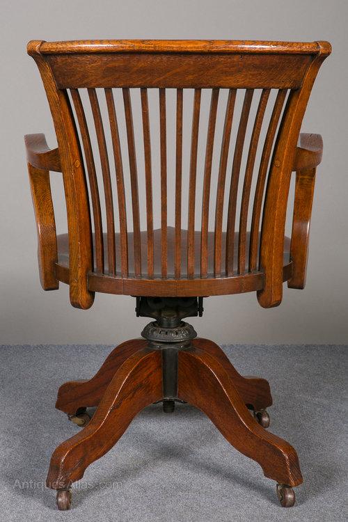 Oak Swivel  Reclining Desk Chair  Antiques Atlas