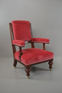 Antique Victorian Mahogany Pink Upholstered Armchair ...