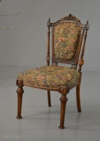 Victorian Upholstered Walnut Occasional Chair - Antiques Atlas