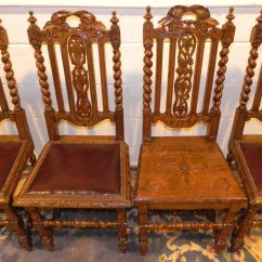Antique Wooden High Chair White Kitchen Chairs Victorian Ornate Oak Carved Dining - Antiques Atlas