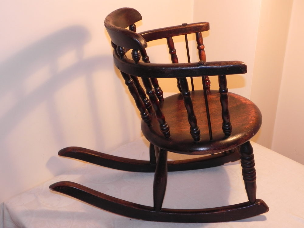 rocking nursing chair hanging wicker small victorian childs oak - antiques atlas