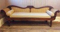 Vintage Anglo Indian Teak & Rattan Sofa (settle ...