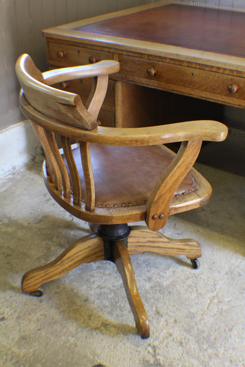 Vintage Swivel Chair Vintage Oak 1930s Adjustable Desk Office Chair