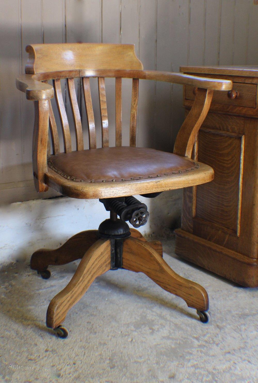 Vintage Oak  1930s Adjustable Desk Office Chair