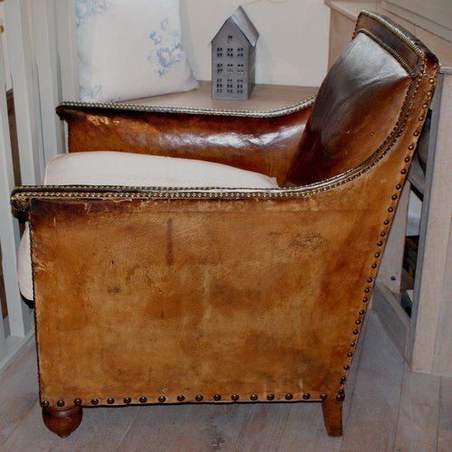leather chair patch video rocker antique french club - antiques atlas