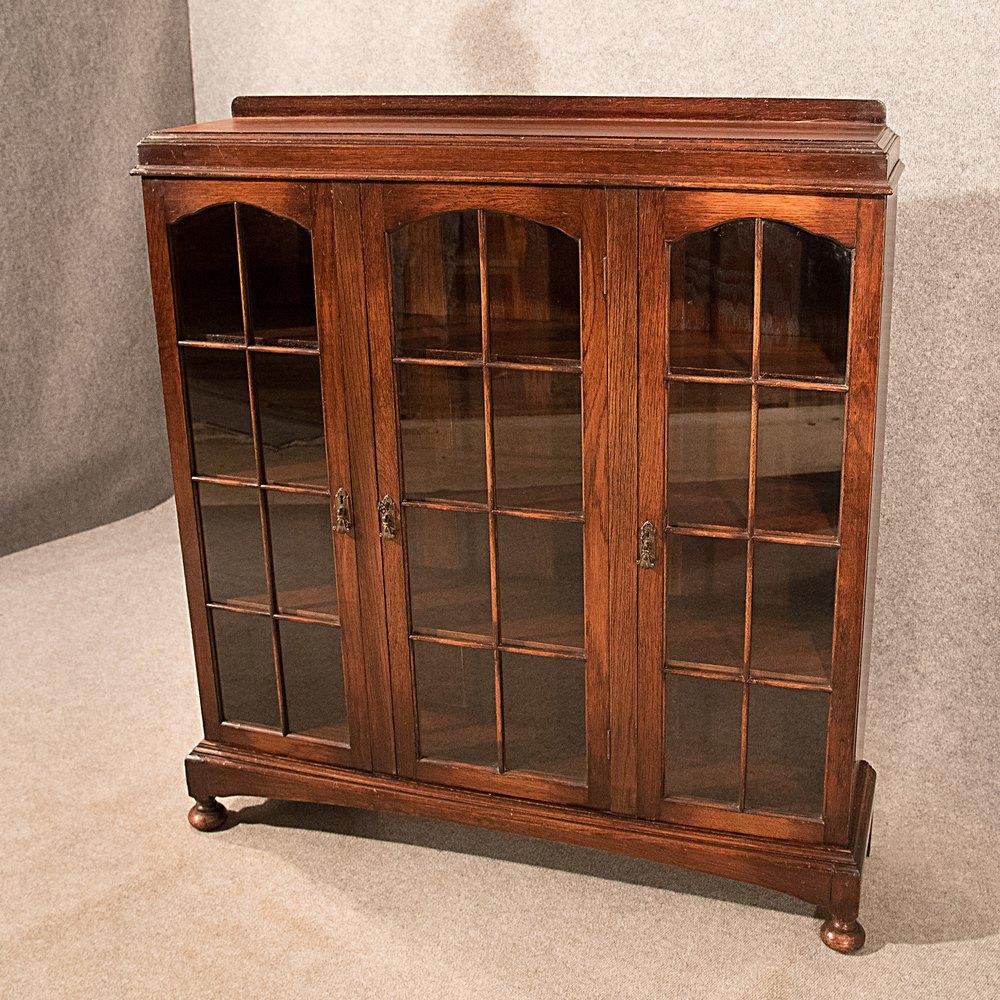Antique 439 Oak Bookcase Display China Cabinet Antiques Atlas