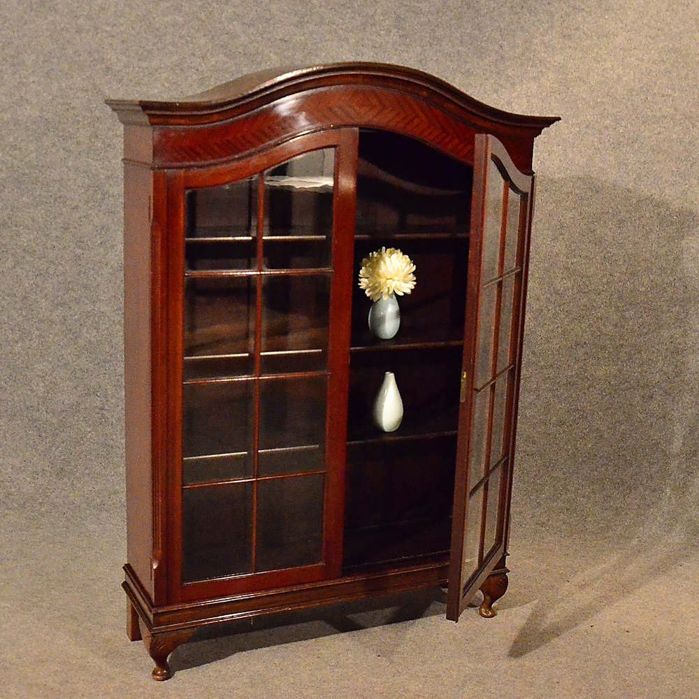 Antique Bookcase Display Case Glazed China Cabinet