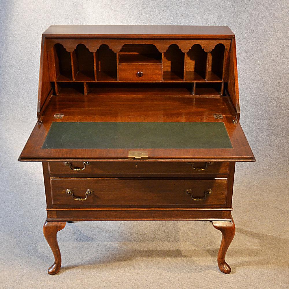 Antique Bureau Writing Desk Mahogany English  Antiques Atlas