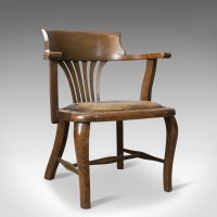 Antique Captain's Chair, English, Oak, Bow-Back ...