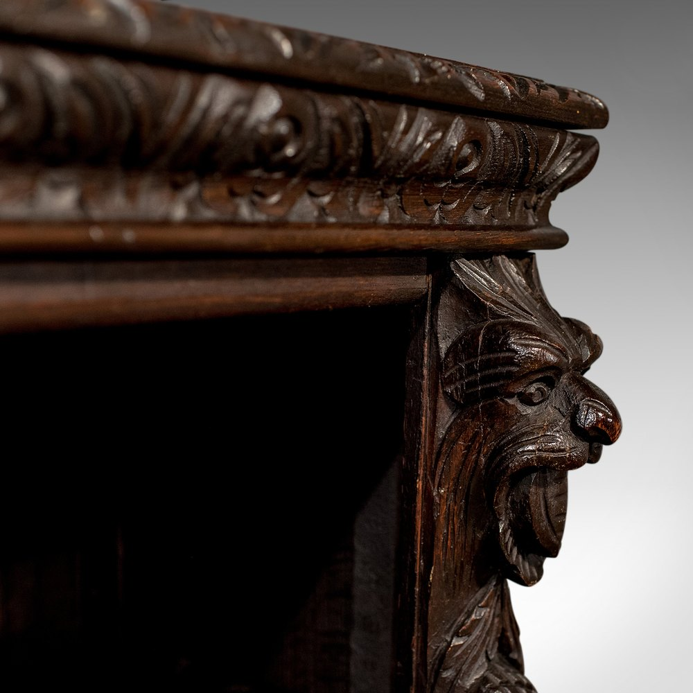 Antique Carved Oak Gothic Bookcase Library Cabinet