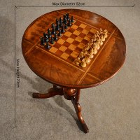 Antique Chess Table Games Lamp Wine Tripod Fine