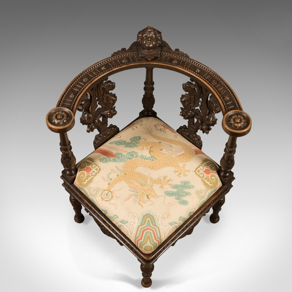 Antique Corner Armchair Carved Victorian Chair C1870