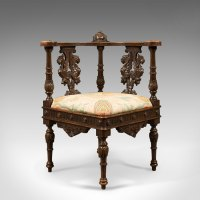 Antique Corner Armchair, Carved Victorian Chair C.1870 ...