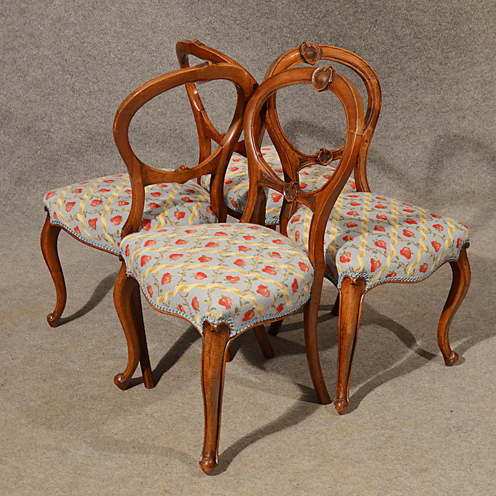 Antiques Atlas  Antique Dining Chairs Walnut Balloon Back