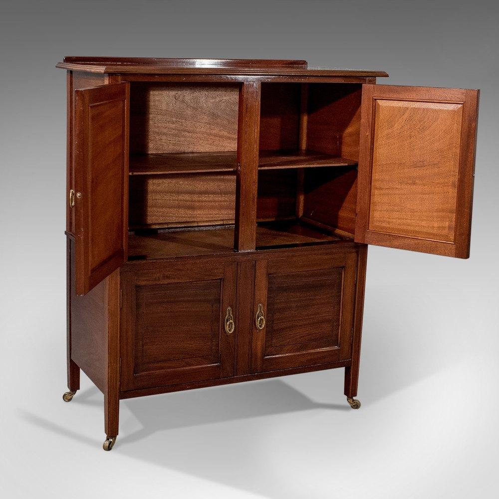 Antique English Edwardian Cabinet Storage Cupboard