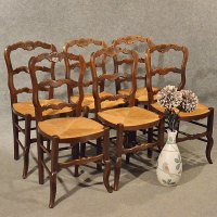 Antique French Oak Chairs X 6 Kitchen Dining Count ...