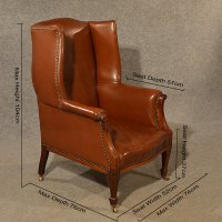 Antique Leather Armchair Club Lounge Salon Wing Chair ...