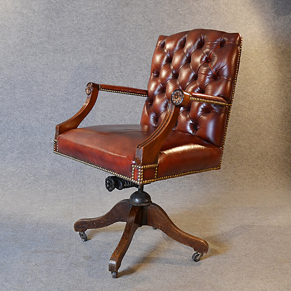 Antique Leather Desk Office Swivel Chair  Antiques Atlas