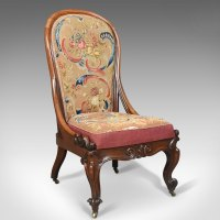 Antique Nursing Chair, English Walnut, Needlepoint ...